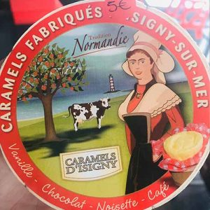 Assortiments de caramels en boîte de camembert 75 gr