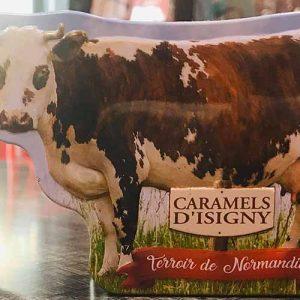 Caramels d'isigny avec une boite métallique en forme de vache 75 gr